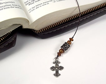 Mens Cross Bookmark in Brown, Mens Gift Bookmark, Bible Bookmark, Inspirational Gift, Religious Gifts