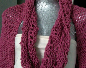 SWEATER WOMEN  KNITTED  W / Matching Free Cowl Great for Spring Deep Pink Color Long Sleeves Gift for Mom