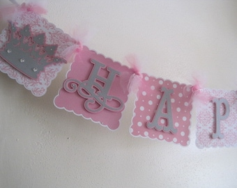 Princess Happy Birthday Banner....Number of your choice could be added on this banner
