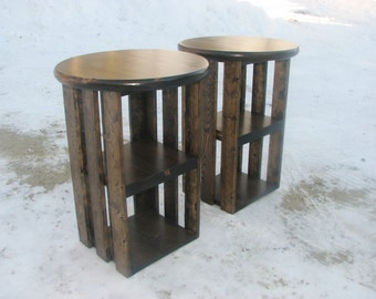 Side Tables, Rustic, Two, Night Stands, Country, Storage, Farmhouse, Two