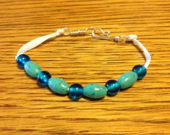 Child's Turquoise Beaded Ribbon Bracelet