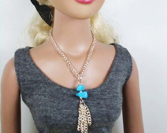Doll Necklace - Turquoise Tassel - necklace for ball jointed dolls, BJD, SD, Obitsu, American Model, Dollfie Dream, Unoa
