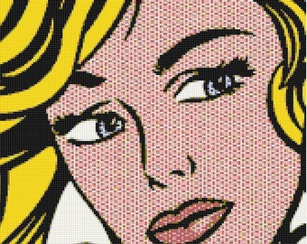 Retro 1980s Pop Art Comic Book Woman Handmade Cross-Stitch Pattern PDF Download