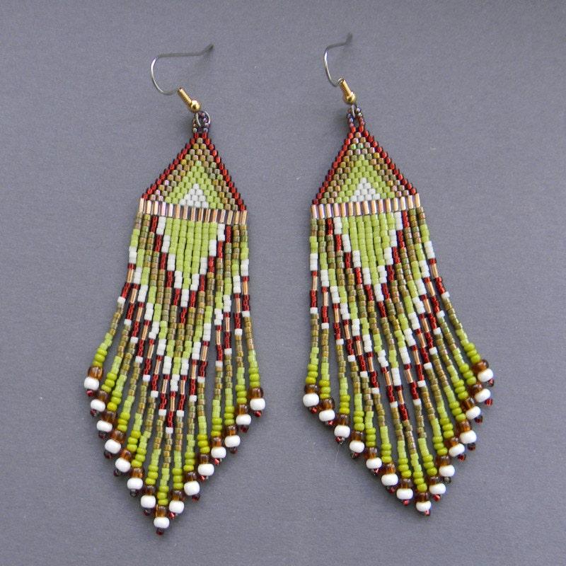 ethnic style seed bead earrings dangle by anabel27shop