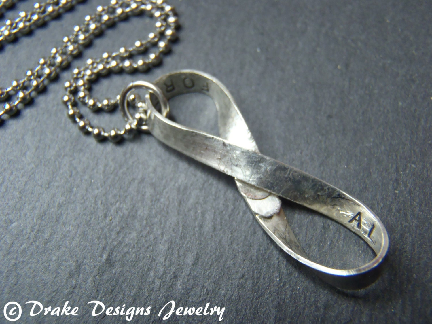 Personalized Infinity Necklace Sterling Silver Infinity