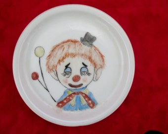 CLOWN Hand painted china coaster plate,MINIATURE German china, signed  1990