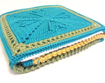 Hearts Granny Square Baby Afghan- baby boy blanket - custom made in your choice of colors - handmade by RockinLola