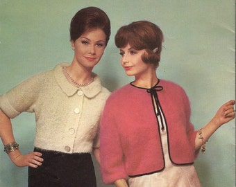 1962 Vintage Knitting Patterns - 2 Mohair Cardies