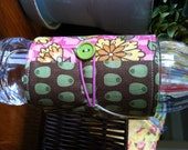 Bottle/Can Cozy (Water/Soda/Beer)  - Brown/Pink/Yellow/Orange/Multicolor Mediterranean Floral & Olives Patchwork (Moda)