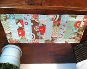 Quilted Patchwork Floral Table Topper /Runner/Wall Hanging/Mini Quilt - Aqua/Turquoise/Red/Green/Brown (Moda Bliss)