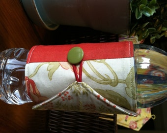 Bottle/Can Cozy (Water/Soda/Beer)  - Red/Coral/Green/Orange/Peach/Multicolor Floral Patchwork (Moda)