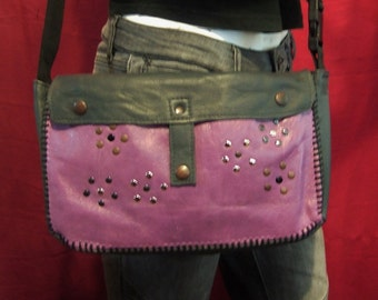 End of Season SALE - Leather Bag - Gray & Orchid