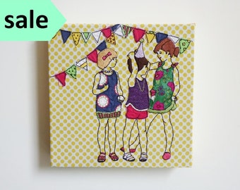 Children's Embroidery Art: 'Birthday Girls' 8x8inch