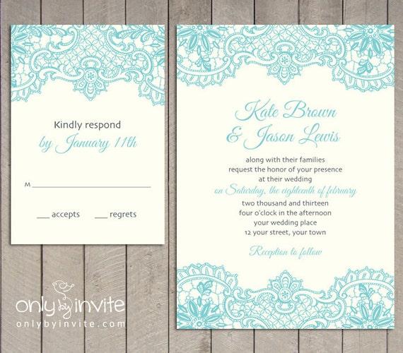 Vintage Wedding Ideas Diy: Vintage Lace Printed Wedding Invitation And RSVP By