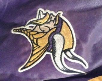 Vintage Shiny Purple Yellow Vikings NFL Satin Jacket