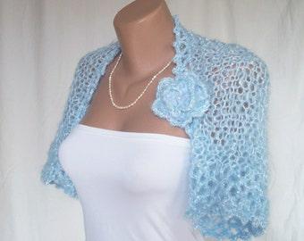 Blue wedding bolero - Bolero jacket - Knitted shrug - Bridal cover up - Evening shrug - Shrug bolero - Wrap over dress - Bridal shrug