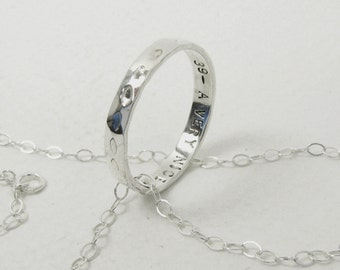 Fine Silver Promise Ring Pendant Necklace with Sterling Silver Chain