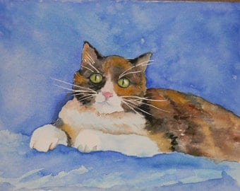 "Cozy Calico Cat Watercolor Print 8.5"" x 11"" by Sally T. Crisp"