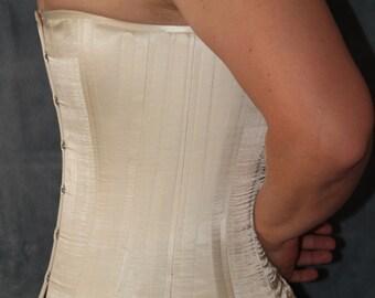 Handmade White Satin Steel-Boned Longline Corset size 12