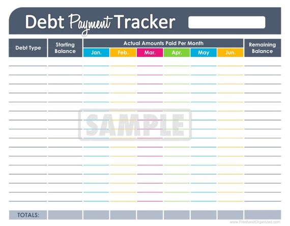 Debt Payment Tracker - EDITABLE - Personal Finance Organizing ...
