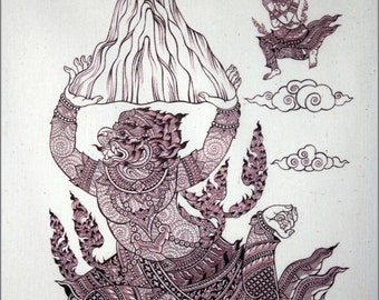 Thai traditional art of Hanuman by silkscreen printing on Natural colors cloth.(Red Black)