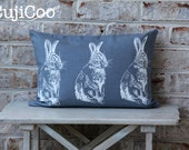 Decorative Pillow Cover - Easter Pillow Cover - Rabbit Pillow Cover - Bunny Pillow Cover - Blue Pillow Cover - Linen Pillow Cover -  12 x18