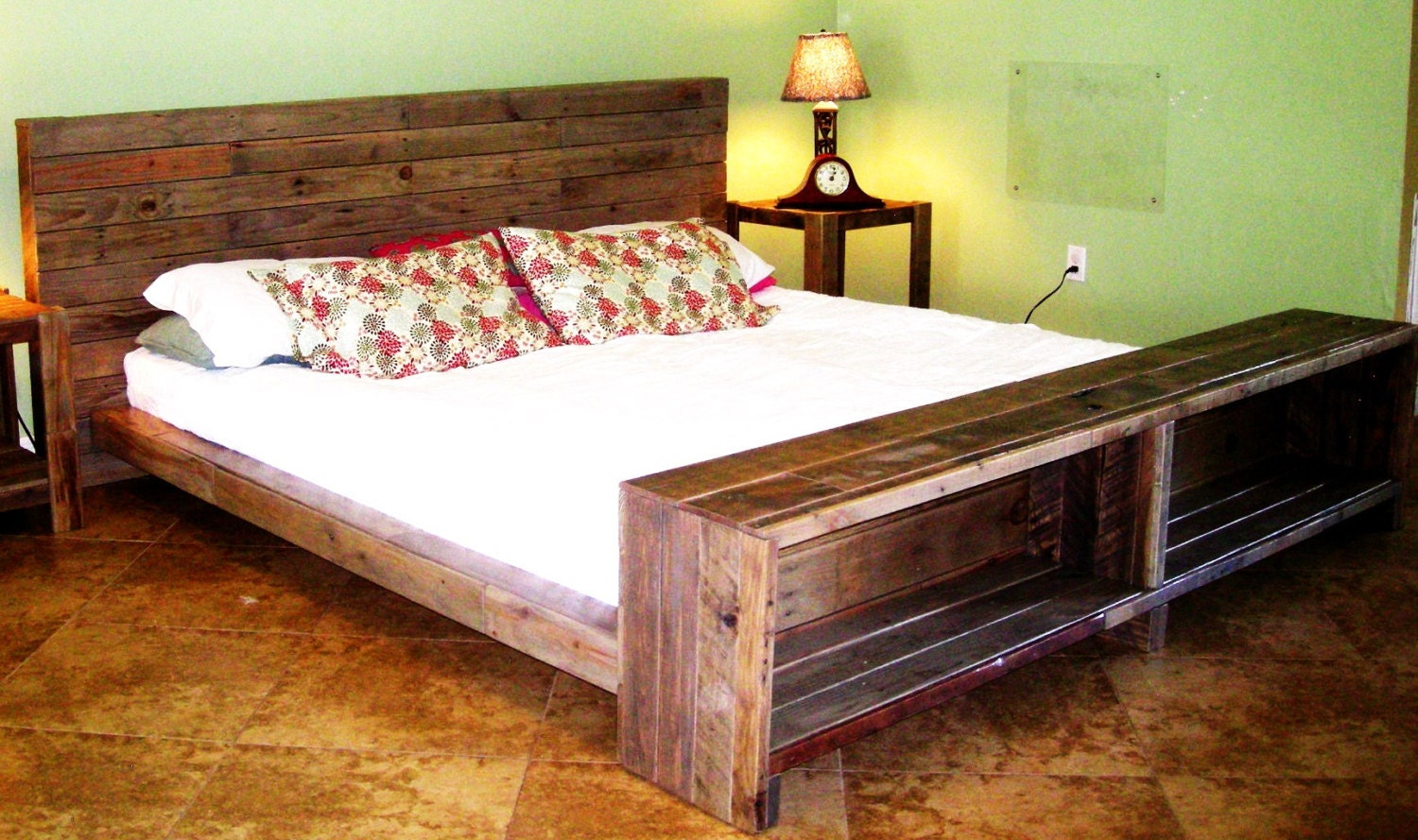 Platform Bed Reclaimed Pallet Wood By Reanimatedwood On Etsy