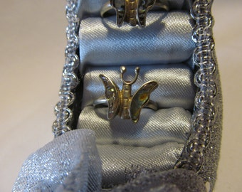 Gypsy Hippie Butterfly Abalogne Sterling Silver Ring Size 7 Bohemian Jewelry