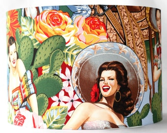 Lampshade drum shade in Alexander Henry Pin Up Girl Retro Senoritas Fabric - 30cm Pendant/lamp fitting