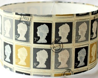 Lampshade drum shade in Postage Stamp Fabric in Grey Charcoal mustard - 40cm Pendant/lamp fitting