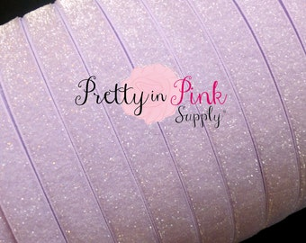 """5/8"""" FROSTED Lavender Glitter Elastic..Elastic By the Yard..Glitter Elastic..Lavender Elastic Glitter..LavenderElastic"""