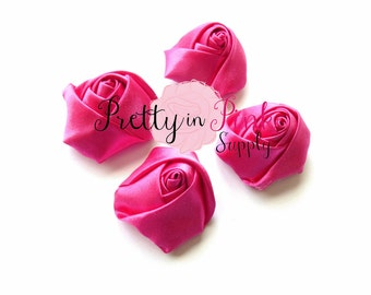 """Hot Pink Satin Rolled Rosettes Lot of 4...Satin Rolled Rosettes...Mini Rolled Rosettes...1.5"""" Rosettes"""