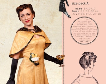 Estelle evening gown, sewing pattern,Pattern Pack B 14-16-18, WWII, rockabilly, swing, jitterbug, war era