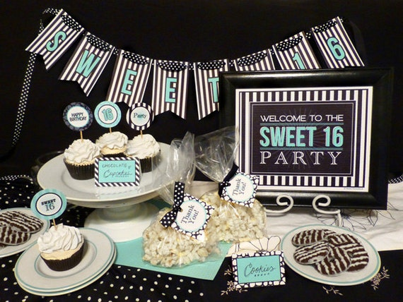 sweet 16 birthday party printable set black by. Black Bedroom Furniture Sets. Home Design Ideas