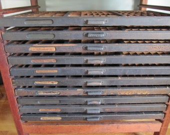 Antique Printer Cabinet, Hamilton Letter Press Cabinet