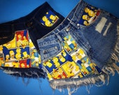 All Sizes - The Simpsons High-Waisted Vintage Denim Shorts (ALL Sizes)