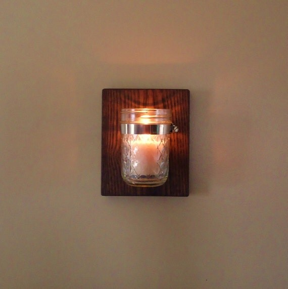 Mason Jar Candle Wall Sconces : Mason jar wall sconce planter candle holder farmhouse wall