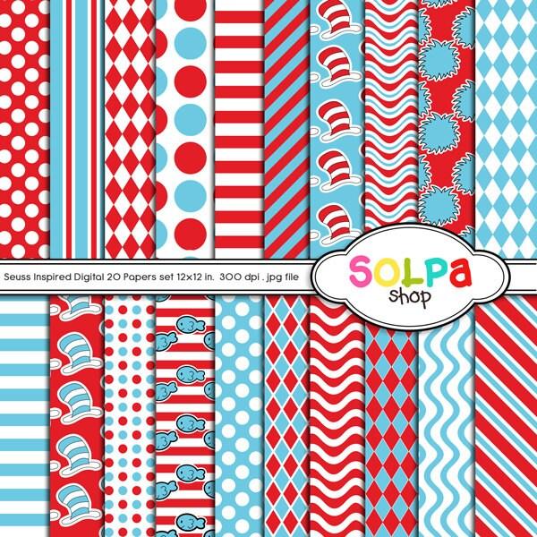 Dr Seuss Digital Border Dr seuss digital papers