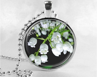 Lily of the Valley Necklace Art Pendant Jewelry with Ball Chain, Spring Flower Jewelry