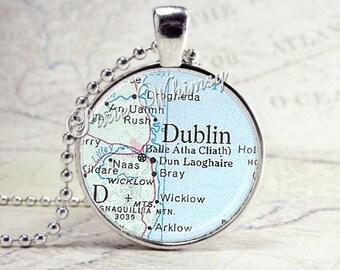 IRELAND Map Pendant Necklace Jewelry, Vintage Map Jewelry, Antique Map Art Pendant Jewelry, Dublin Ireland Map Necklace