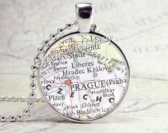 Prague Czechoslovakia Map Necklace Art Pendant Jewelry with Ball Chain