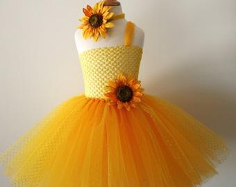 Baby girls Yellow sunflower glitter tutu dress - Infant to girls 8