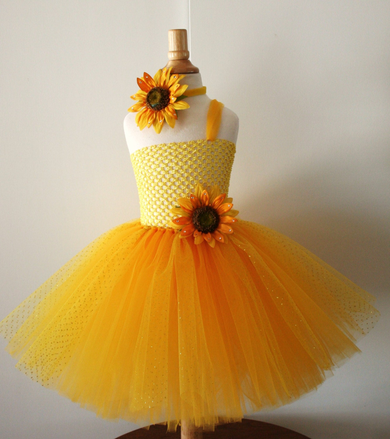 Baby Girls Yellow Sunflower Glitter Tutu Dress
