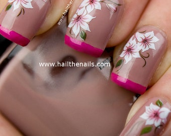 Nail Art Water Transfer Decal Pink & White Lily Flower Y101