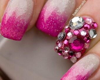 Pink Crystal  Studs Nail Art - This seasons must have nails. 100 Rhinestones per pack Y006