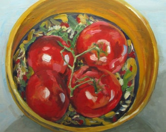 """Tomatoes in a Patterned Bowl -Oil Still Life Painting 24x24"""" Original Artwork, kitchen art, fruit, vegetable, impressionist"""