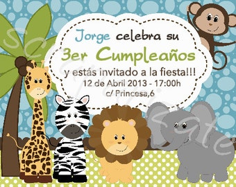 Jungle Birhtday's invitation