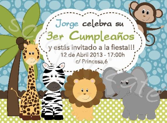 Invitaciones de cumpleaños de animales de la selva gratis - Imagui