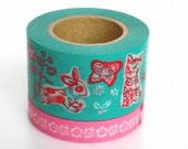 Mark's (Chat-chien par Nathalie Lete) Mint 2rolls: Japanese washi masking tape - kawaii collage scrapbooking deco
