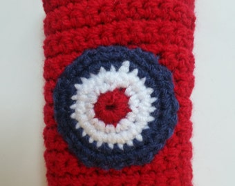 Handmade crochet mod target mobile / cell phone cover / cosy / sock in red